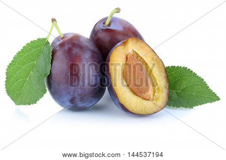 Plums Plum Prunes Prune Fresh Fruits Fruit Isolated On White