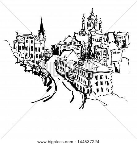 black and white sketch drawing of Andrew's descent - one of the most popular places in Kyiv Ukraine, vector illustration