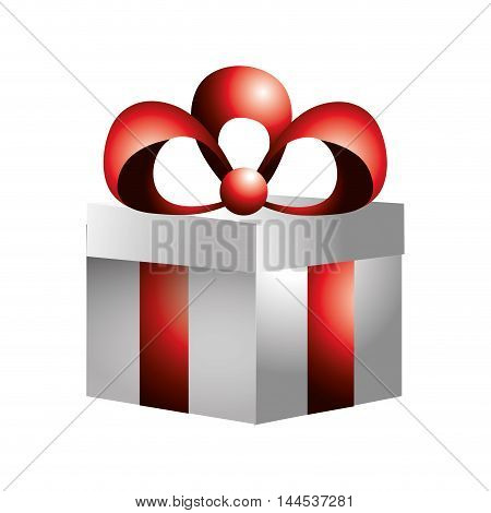 gift present bowtie red box decoration celebration icon. Flat and isolated design. Vector illustration