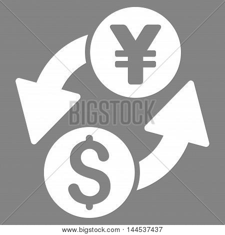 Dollar Yen Exchange icon. Vector style is flat iconic symbol with rounded angles, white color, gray background.