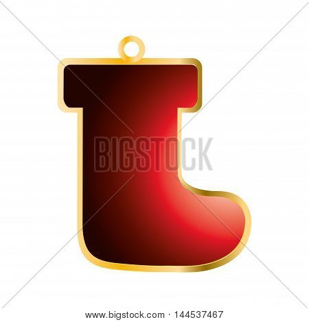 boot merry christmas decoration celebration icon. Flat and isolated design. Vector illustration