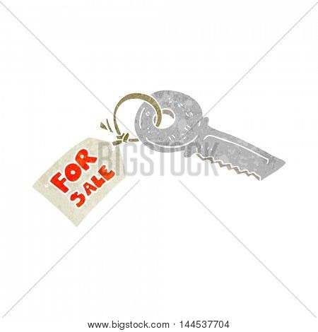 freehand retro cartoon house key with for sale tag