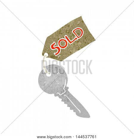 freehand retro cartoon new house key