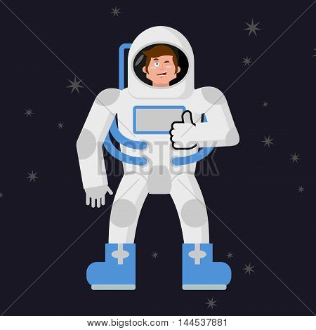 Astronaut Thumbs Up Shows Well. Cosmonaut Winks. Sign All Right. Jolly Good Astronaut. Mimicry Smile