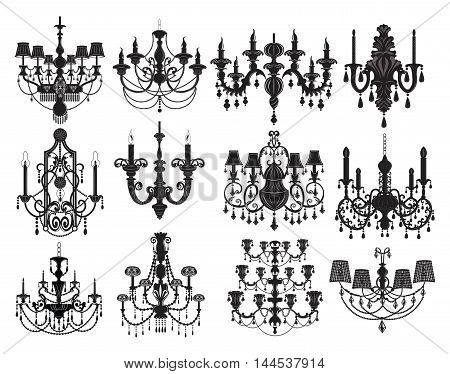 Classic chandelier Set Collection. Luxury decor accessory design