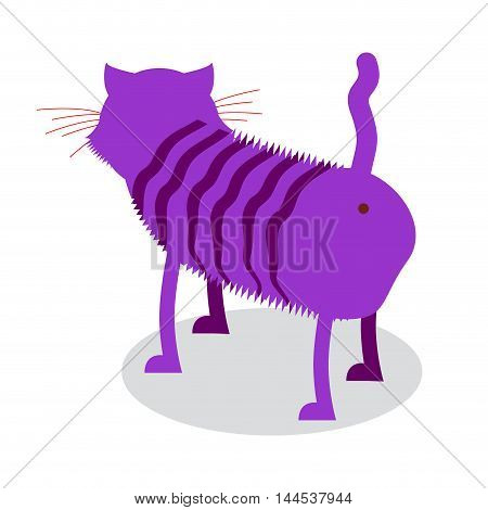 Cheshire Cat. Fantastic Pet Is Backwards. Magic Animal From Fairy Tale Alice In Wonderland