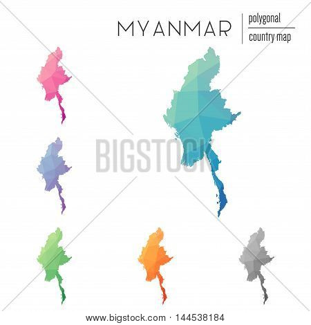 Set Of Vector Polygonal Myanmar Maps. Bright Gradient Map Of Country In Low Poly Style. Multicolored