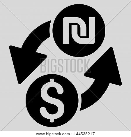 Dollar Shekel Exchange icon. Vector style is flat iconic symbol with rounded angles, black color, light gray background.