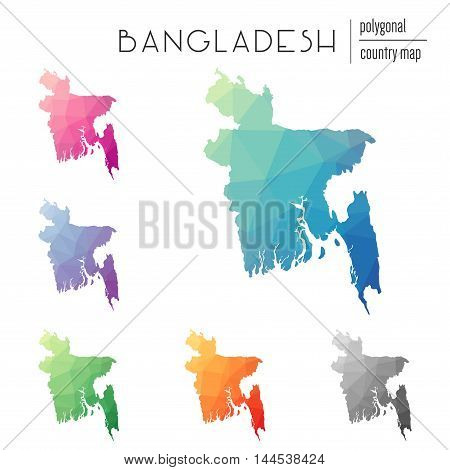 Set Of Vector Polygonal Bangladesh Maps. Bright Gradient Map Of Country In Low Poly Style. Multicolo