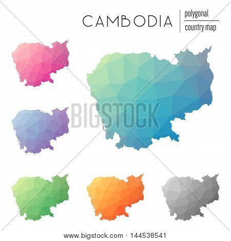 Set Of Vector Polygonal Cambodia Maps. Bright Gradient Map Of Country In Low Poly Style. Multicolore