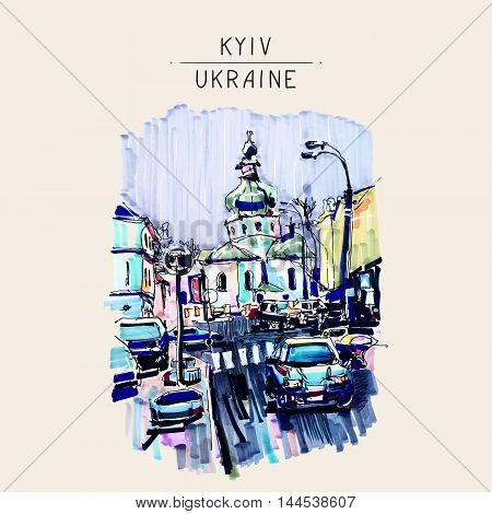 original marker urban sketch on paper of Kyiv Podol landscape with church, road, cars, lantern and building, travel card vector illustration