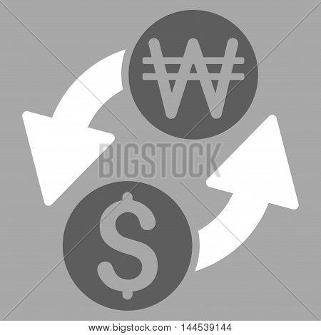 Dollar Korean Won Exchange icon. Vector style is bicolor flat iconic symbol with rounded angles, dark gray and white colors, silver background.