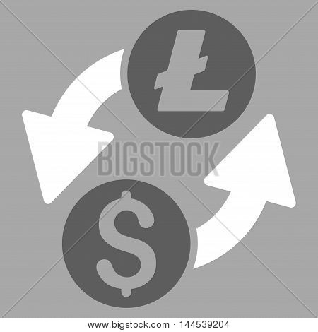 Dollar Litecoin Exchange icon. Vector style is bicolor flat iconic symbol with rounded angles, dark gray and white colors, silver background.
