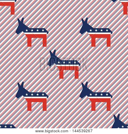 Broken Democrat Donkeys Seamless Pattern On Red And Blue Stripes Background. Usa Presidential Electi