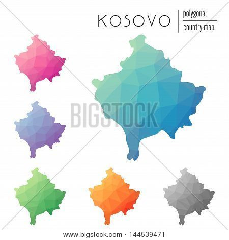 Set Of Vector Polygonal Kosovo Maps. Bright Gradient Map Of Country In Low Poly Style. Multicolored