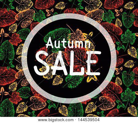 Autumn sale illustration. Autumn leaves background. Vector grunge leaves