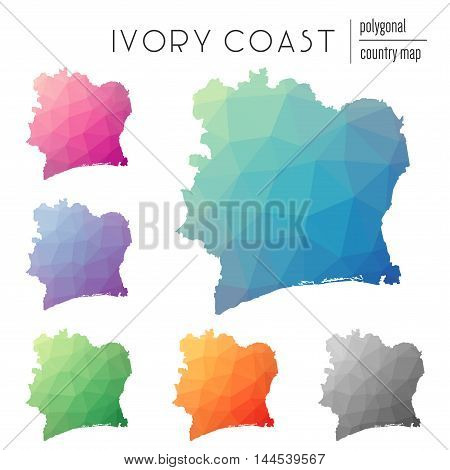 Set Of Vector Polygonal Cote D'ivoire Maps. Bright Gradient Map Of Country In Low Poly Style. Multic