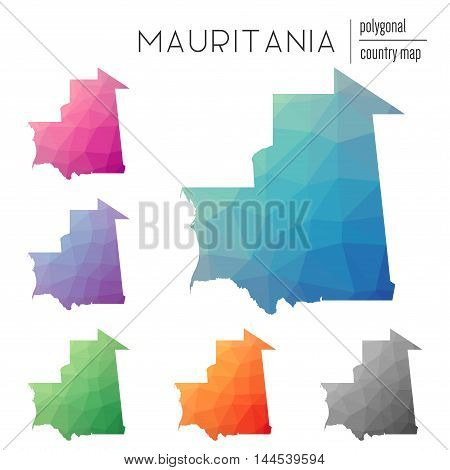 Set Of Vector Polygonal Mauritania Maps. Bright Gradient Map Of Country In Low Poly Style. Multicolo
