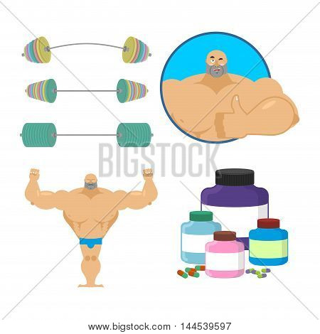 Fitness Set. Bodybuilder And Sports Nutrition. Athlete And Barbell. Sports Man Thumbs Up Shows Well.