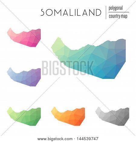 Set Of Vector Polygonal Somaliland Maps. Bright Gradient Map Of Country In Low Poly Style. Multicolo