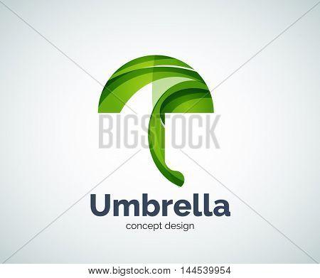 Vector umbrella logo template, abstract business icon