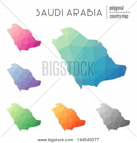 Set Of Vector Polygonal Saudi Arabia Maps. Bright Gradient Map Of Country In Low Poly Style. Multico