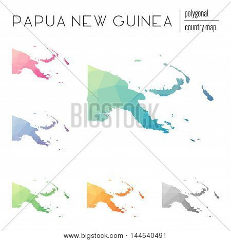 Set Of Vector Polygonal Papua New Guinea Maps. Bright Gradient Map Of Country In Low Poly Style. Mul
