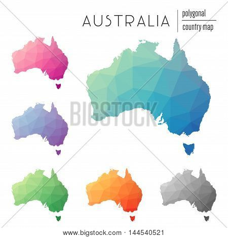 Set Of Vector Polygonal Australia Maps. Bright Gradient Map Of Country In Low Poly Style. Multicolor