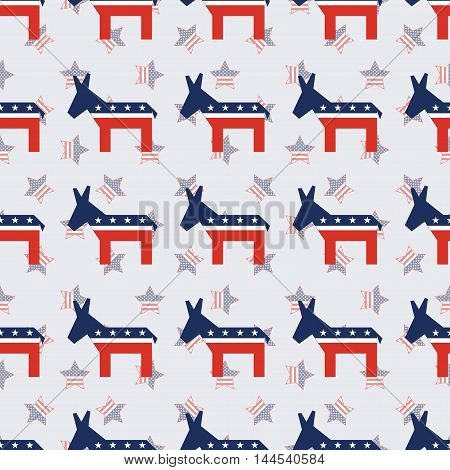Broken Democrat Donkeys Seamless Pattern On American Stars Background. Usa Presidential Elections Pa