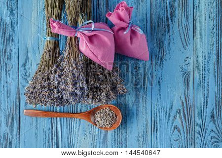 Bouquets Of Lavender While Drying On Wooden Boards