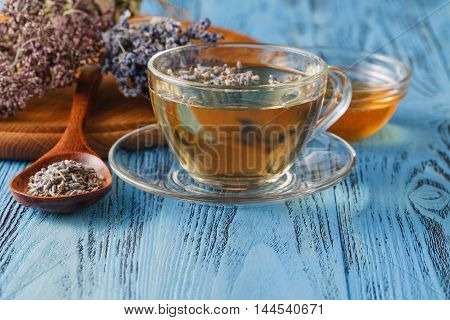 Natural Lavender In A Wooden Spoon