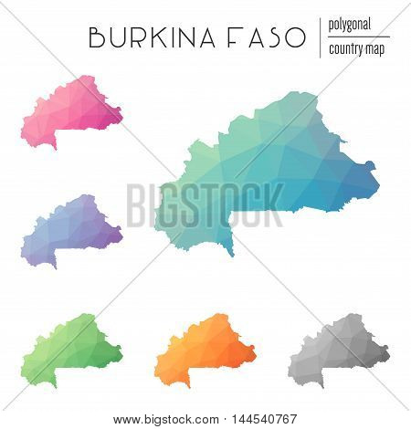 Set Of Vector Polygonal Burkina Faso Maps. Bright Gradient Map Of Country In Low Poly Style. Multico