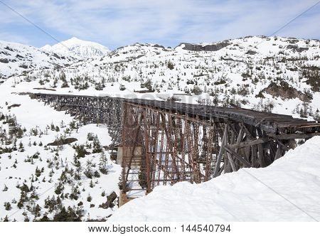 The abandoned railway bridge close to White Pass (Alaska).