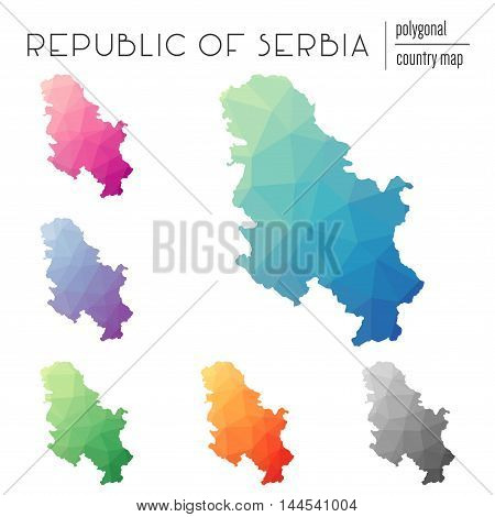 Set Of Vector Polygonal Serbia Maps. Bright Gradient Map Of Country In Low Poly Style. Multicolored