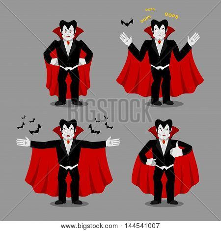 Dracula Set Of Movements. Vampire Collection Of Poses. Ghoul Expression Of Emotion. Cheerful And Sur