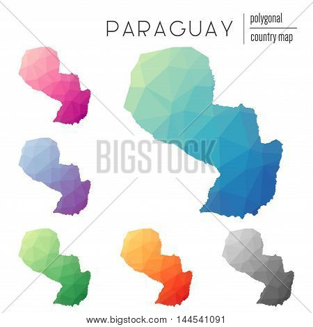 Set Of Vector Polygonal Paraguay Maps. Bright Gradient Map Of Country In Low Poly Style. Multicolore