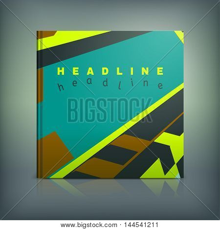 Vector business brochure cover template. Modern background for poster, print, flyer, book, booklet, brochure and leaflet design. Editable graphic collection in brown, yellow, green and black colors