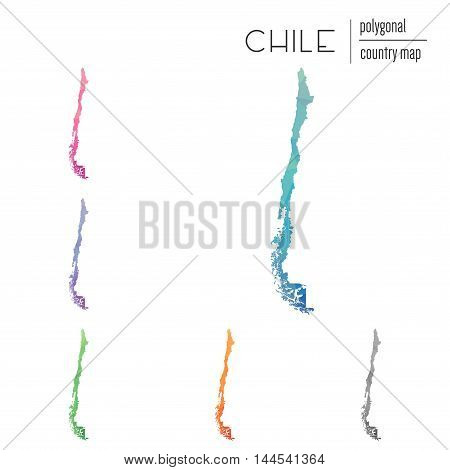 Set Of Vector Polygonal Chile Maps. Bright Gradient Map Of Country In Low Poly Style. Multicolored C