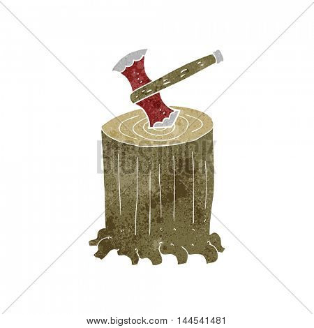 freehand retro cartoon tree stump and axe