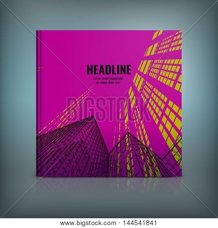 Vector business brochure cover template. Modern backgrounds for poster, print, flyer, book, booklet, brochure and leaflet design. Editable graphic collection in mangenta, yellow and black colors