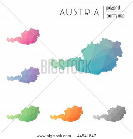Set Of Vector Polygonal Austria Maps. Bright Gradient Map Of Country In Low Poly Style. Multicolored