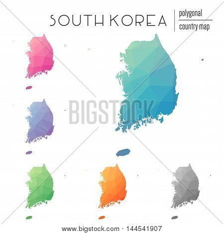 Set Of Vector Polygonal Korea, Republic Of Maps. Bright Gradient Map Of Country In Low Poly Style. M