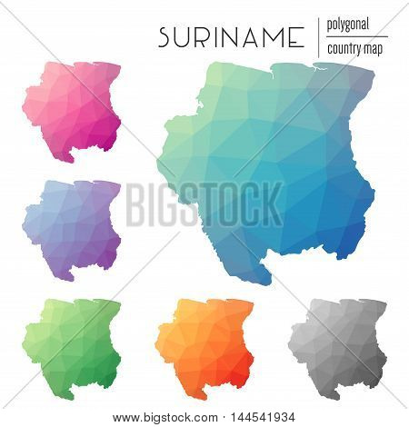 Set Of Vector Polygonal Suriname Maps. Bright Gradient Map Of Country In Low Poly Style. Multicolore