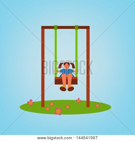 Beautiful children swing with a girl swinging. Vector illustration in bright blue, green, brown and orange colours in cartoonish style.