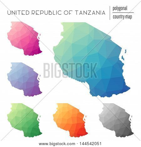 Set Of Vector Polygonal Tanzania, United Republic Of Maps. Bright Gradient Map Of Country In Low Pol