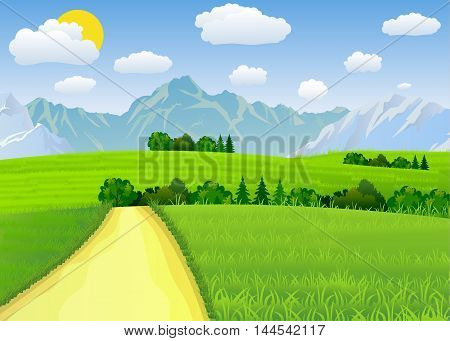 Summer landscape with meadows and mountains. Road and the forest, nature landscape, vector background. vector illustration in flat design