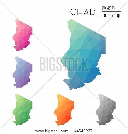 Set Of Vector Polygonal Chad Maps. Bright Gradient Map Of Country In Low Poly Style. Multicolored Ch