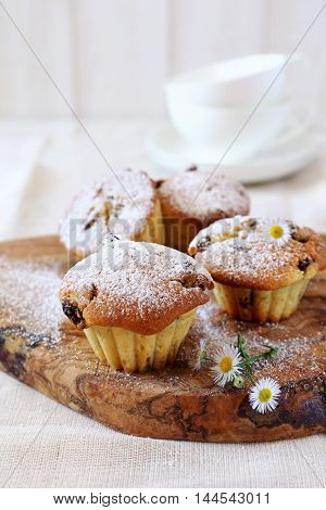 Raisin muffin for breakfast on olive tray