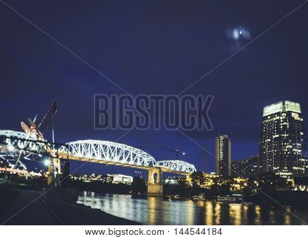 Nashville at Night with View of the City