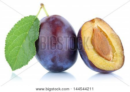 Plums Plum Prunes Prune Fruit Isolated On White